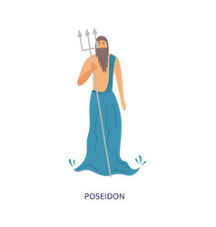 Sea and ocean greek god poseidon with trident vector