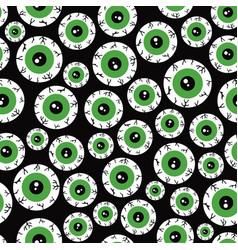 seamless halloween pattern with cartoon eyes vector image