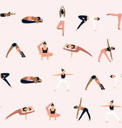 Seamless pattern with characters in yoga asanas vector