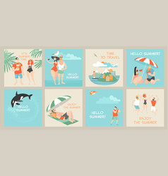 set cards with cute cartoon characters vector image