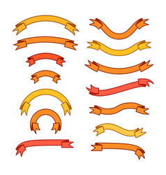 set of different ribbons orange red yellow vector image
