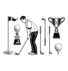 Set of golf player and equipment vector