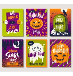 Set of halloween posters or greeting card vector