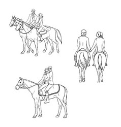 set of loving couple riding a horse contour vector image