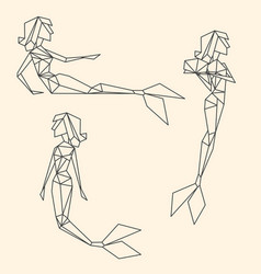 Set of polygon linear graphic mermaids vector