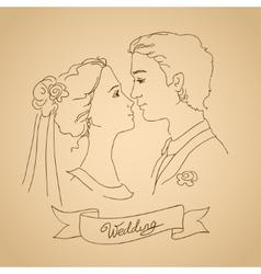 sketch bride and groom vector image