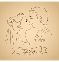 Sketch of bride and groom vector
