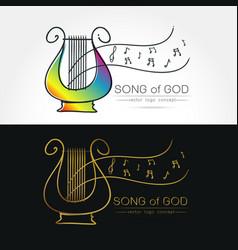 stylized image of lyre logo vector image