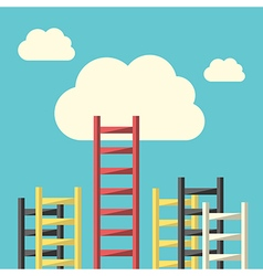 Success ladder to cloud vector image