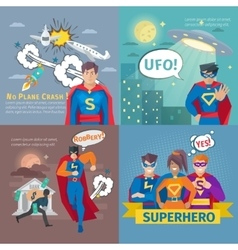 Superhero Concept Icons Set vector image