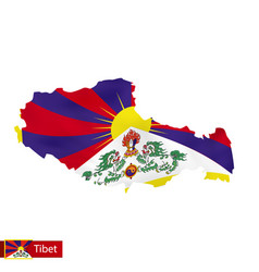 Tibet map with waving flag country vector