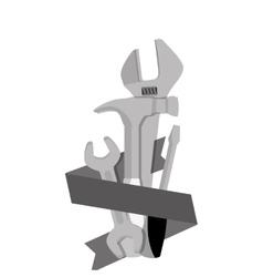 Tools set with ribbon labor day vector