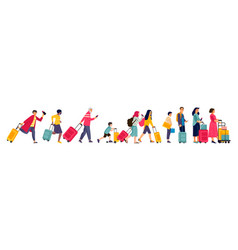 Travelers group tourists in line baggage vector