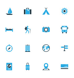 Traveling colorful icons set collection of vector
