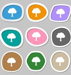 Tree Forest icon symbols Multicolored paper vector image