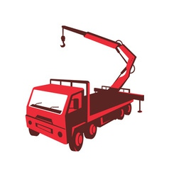 truck mounted crane cartage hoist retro vector image