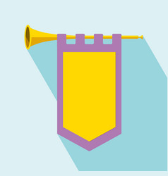 trumpet with flag icon vector image