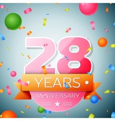 Twenty eight years anniversary celebration vector