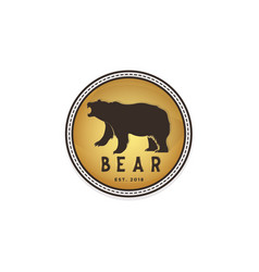 vintage bear circle shape logo design inspiration vector image