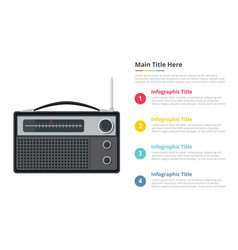 vintage radio infographics template with 4 points vector image