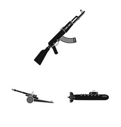 Weapon and gun icon set vector