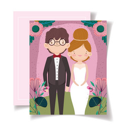 wedding invitation with couple portrait flower vector image