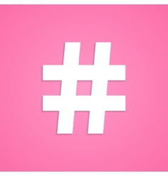 white hashtag icon isolated on pink background vector image