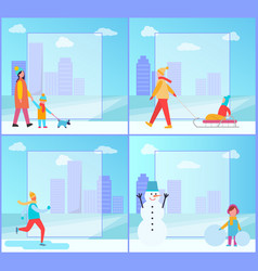 winter activities collection vector image