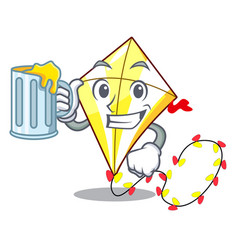 with juice cute kite flying the on mascot vector image