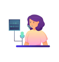 Woman talk in microphone to detect voice security vector