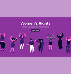 womens rights web landing page template vector image