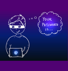 young hacker boy stealing password vector image