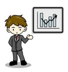 Business man is explaining with whiteboard vector image vector image