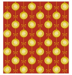 Christmas pattern with golden balls and bows on vector image vector image