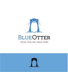 Cute blue otter logo vector