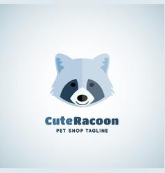 cute raccoon sign emblem or logo template vector image vector image