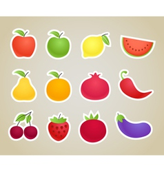 Fruit and vegetables silhouettes clip-art vector