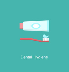 tube of toothpaste and tooth brush icon vector image
