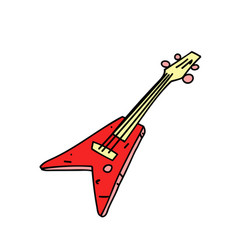 electric guitar cartoon hand drawn image vector image