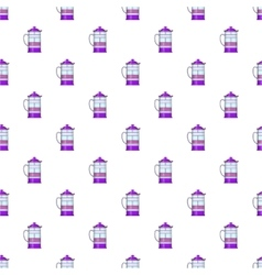 French press coffee maker pattern cartoon style vector