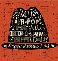 Happy Fathers Day hand drawn card with hat vector image vector image