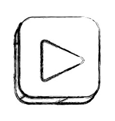 monochrome sketch of square button with play vector image vector image