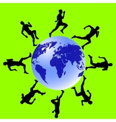 Silhouettes athletes run around the globe vector image