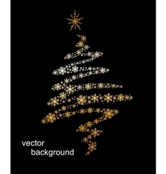 Christmas tree made from snowflakes with ribbon vector image