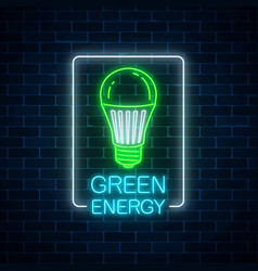 Glowing neon sign of green led light bulb with vector
