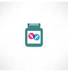 jar with pills vector image