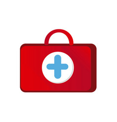 red suitcase healthcare with blue hospital symbol vector image vector image