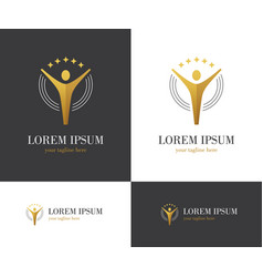 abstract golden logo with human figure and stars vector image