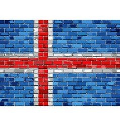 Flag of Iceland on a brick wall vector image vector image