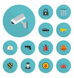 flat icons virus lock siren and other vector image vector image